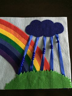 Rainbow and Rain Quiet Book Page by HannasQuietBooks on Etsy