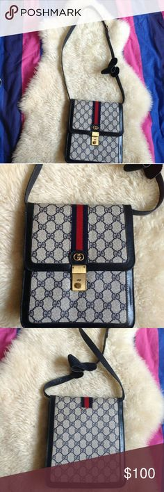 """GUCCI Parfums Vintage Crossbody Bag Gently used. No stains. Last picture shows a bit of flaw. Leather is peeling/ripping (bag is vintage) Everything is functional & amazing condition. H: 9"""" W: 8'' D: 2'' Flap lock closure. 3 compartments with middle zipper  Made in Italy Gucci Bags Crossbody Bags"""