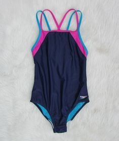 2ce9214ec07ed Details about Girls Speedo One Piece Size 5 Swim Suit Blue Yellow Pink EUC
