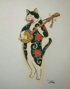 Horitomo Monmon Cat ♡ Japanese Cat, Japanese Prints, Japan Art, Cat Tattoo, Cat Drawing, Land Art, Crazy Cats, Folk Art, Street Art