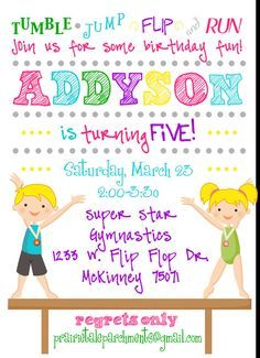 Printable Gymnastics Tumbling Birthday Party Invitation Birthday