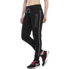 Reebok Exhale Jogger Sweatpants ($23) ❤ liked on Polyvore featuring activewear, activewear pants, blacks, reebok, jogger sweatpants, reebok sportswear, elastic cuff sweatpants and sweat pants