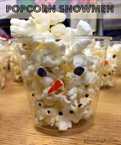 Popcorn Snowman Cups - Perfect DIY idea for Christmas or Winter Parties for kids!