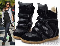 b91f48934e AnnaKastle Womens Polished Leather Trim Velcro Strap High-Top Sneaker All  Black