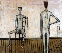 """Bernard Buffet """"Deux Hommes Nus"""" 1947"""