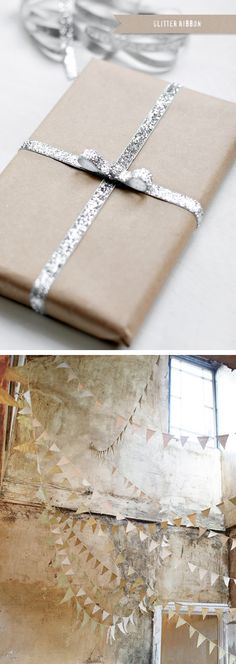 Kraft paper and glitter ribbon.  The neutral pennants are pretty lovely too.