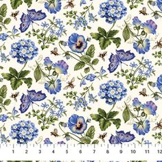 Northcott Botanical Blues by Tracy Sims 20458 11 Flowers  Butterflies $9.70/yd PREORDER DUE DEC/JAN '14/'15