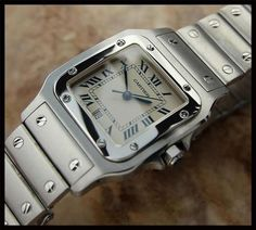 SWISS MEN'S/UNISEX CARTIER SANTOS 1564 w/DATE, STAINLESS STEEL, c. 2008