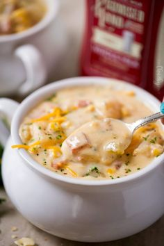 Slow Cooker Cheesy Ham Chowder - The Chunky Chef Crockpot Dishes, Crock Pot Soup, Slow Cooker Soup, Slow Cooker Recipes, Crockpot Recipes, Soup Recipes, Beef Dishes, Recipies, Ham And Potato Soup