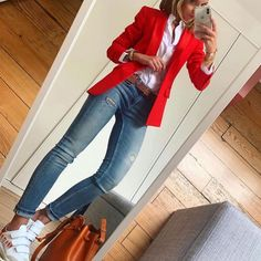 Modetrend Modetrend You are in the right place about Blazer Outfit professional Here we offer you the most beautiful pictures about the Blazer Outfit fiesta you are looking for. When you examine the M Blazer Outfits Casual, Business Casual Outfits, Classy Outfits, Chic Outfits, Fall Outfits, Fashion Outfits, Red Blazer Outfit, Outfit Look, Orange Blazer