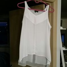 Dex Split Back Tank Classy white split back tank with a sheer grey layer in the back. Brand new, never worn. Dex  Tops Blouses