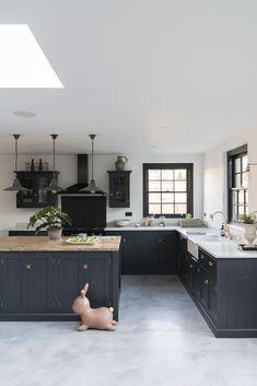 Modern Classic navy painted kitchen designed by DeVol Kitchens #homeimprovementagencyLancaster,