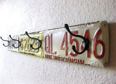 Upcycled License Plate Wall Coat Rack ~ Long ~ Mancave decor, Garage decor, Industrial home decor, Boy's room decor License Plate Crafts, Old License Plates, License Plate Art, License Plate Ideas, Licence Plates, Plates On Wall, Plate Wall, Boys Room Decor, Boy Room