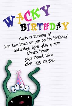 Monster Birthday Party Invitations Free