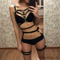 Fullyoung Sexy Ladies Women Body Harness Bra Fetish 2 Piece Chest Bondage Lingerie Erotic Cage Bra Gothic Garter Belts Waist To Lingerie Look, Bra Lingerie, Petite Lingerie, Calvin Klein Underwear Women, Motard Sexy, Pernas Sexy, Leder Outfits, Leather Harness, Leg Harness