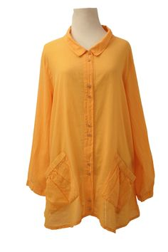 Two Pocket Button-Down Shirt by Iridium in Tangerine – Marjory Warren Boutique
