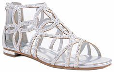 Tory63 Silver Glittering Rhinestone Four-leaf Clover Cut Out Strap Gladiator Flat Dress Sandal Shoes-7.5