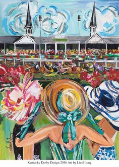 Kentucky Derby 2016 Limited Edition Print---- The print is mailed in a tube rolled in a clear sealed package. Each print is signed by the artist. The size of the print is Size variations: rolled print Quantity framed print(black wood wall Derby Time, Derby Day, Run For The Roses, Kentucky Derby Hats, Louisville Kentucky, Kentucky Derby Party Ideas, Owensboro Kentucky, Kentucky Derby Fashion, My Old Kentucky Home