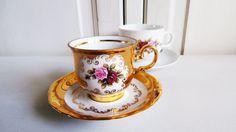 Vintage HK Bavaria 24 krt gold porcelain cup & saucer set