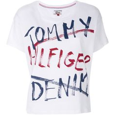Tommy Hilfiger logo patch T-shirt ($39) ❤ liked on Polyvore featuring tops, t-shirts, white, white cotton tee, tommy hilfiger top, white logo t shirts, tommy hilfiger tee and cotton tees