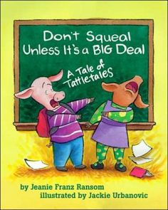 "The piggies in Mrs. McNeal's class learn the difference between tattling and informing an adult in an emergency. After enduring a morning of students ""squealing"" on one another, the teacher explains that kids should try to work out their kid-sized problems themselves, but they should seek help when a more serious situation arises"