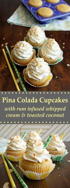 Take a tropical vacation through these Pina Colada Cupcakes, topped with rum infused whipped cream and toasted coconut chips. Rum Cupcakes, Pina Colada Cupcakes, Pina Colada Rum, Alcoholic Cupcakes, Alcoholic Desserts, Rum Cake, Cupcake Cakes, Alcoholic Shots, Cupcake Recipes