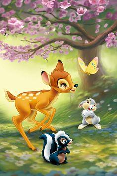 Disney World Bambi and Friends Cartoon Wallpaper