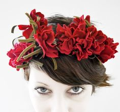 the red queen floral tiara by whichgoose on Etsy Red Wedding, Floral Wedding, Wedding Photos, Wedding Ideas, Hair Wreaths, Floral Hair, Glamour, Red Hats, Shades Of Red