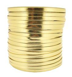 couro metalizado dourado fita couro