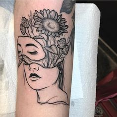 Flower woman greyscale black white grey tattoo