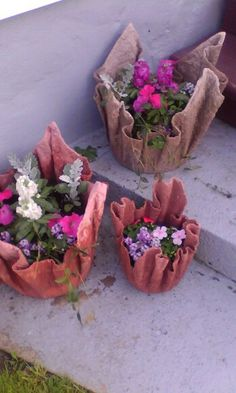 DIY Concrete Planter From An Old Towel Or A Fleece Blanket
