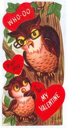 owls vintage valentine