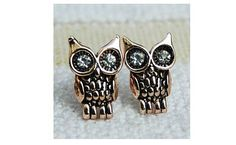 Small 18K Rose GP Owl Stud Earrings