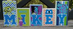 Monsters Inc Personalized Wood Name Blocks by BrilynsTreeHouse, $7.00