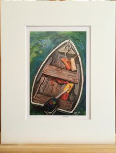 """Dinghy"" print of acrylic painting matted to fit frame Dinghy, Acrylic Painting Canvas, Beach Pictures, Seas, Original Artwork, Fit, Frame, Decor, Jon Boat"