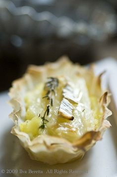 LEEK AND POTATO TARTS WITH CAMEMBERT AND THYME