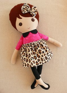 Fabric Doll Rag Doll Brown Haired Girl in Leopard Print Outfit