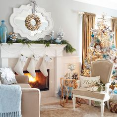 We love this sparkling living room! More #Christmas decorating ideas: http://www.bhg.com/christmas/indoor-decorating/pretty-christmas-living-rooms/