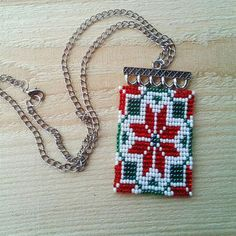 Boho necklace pendant Native loom beadwork Flowers pattern pendant Ethnic jewelry Ukraine Folk colorful pendant Summer trend Gift for her Bead Loom Patterns, Peyote Patterns, Beading Patterns, Loom Flowers, Bead Loom Bracelets, Native American Beading, Tear, Bead Crochet, Loom Beading