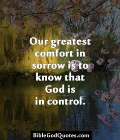 http://biblegodquotes.com/our-greatest-comfort-in-sorrow-is-2/ Our greatest comfort in sorrow is to know that God is in control.