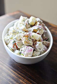 Another new favorite. Yummy Bacon Ranch Potato Salad via @Courtney Baker Champion