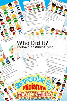 Who Did It? Free Printable Guessing Game And Crime Solving Worksheets This is a game about using those deductive problem solving skills. There are two activities in the pdf. One is worksheets with a line up of suspects and clues to solve the case there ar Mystery Games For Kids, Guessing Games For Kids, Free Games For Kids, Spy Kids, Secret Agent Activities For Kids, Mystery Board Games, Puzzles For Kids, Printable Games For Kids, Printable Board Games