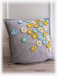 grey gray throw pillow crochet flowers turquoise yellow white flowers poszewka ozdobna w kwiatki Easter home decoration 'created by BB'