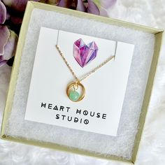 Gemstone pendant necklace, layering necklace, dainty gold necklace with infinity pendant, infinity loop pendant, halo pendant, silver chain by HeartHouseStudio on Etsy