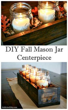 Best Mason Jar Crafts for Fall - DIY Fall Centerpiece - DIY Mason Jar Ideas for .Best Mason Jar Crafts for Fall - DIY Fall Centerpiece - DIY Mason Jar Ideas for Centerpieces, Wedding Decorations, Homemade Gifts, Craft Projects with. Pot Mason Diy, Fall Mason Jars, Mason Jar Crafts, Pots Mason, Easy Fall Crafts, Fall Diy, Diy Crafts, Wooden Crafts, Decor Crafts