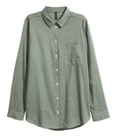 Cotton Shirt   Khaki green   Women   H&M US
