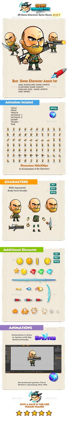 The Big Guy Warrior 2D Game Character Sprites 176