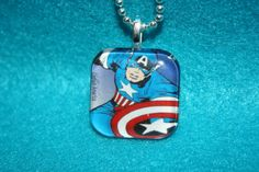 Captain America Glass Tile Necklace by PopNeckCandy on Etsy, $9.95