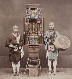 Photo ofBuddhist pilgrims with portable altar. PhotographerKusakabe Kimbei, 1880's, Japan.