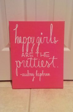 Happy Girls are the Prettiest Audrey Hepburn Canvas Quote Art